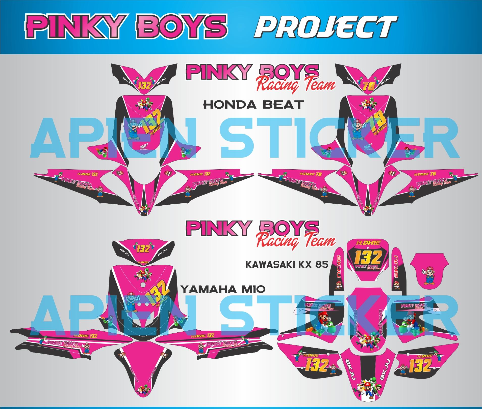 Striping motor road race pinky boys apien sticker