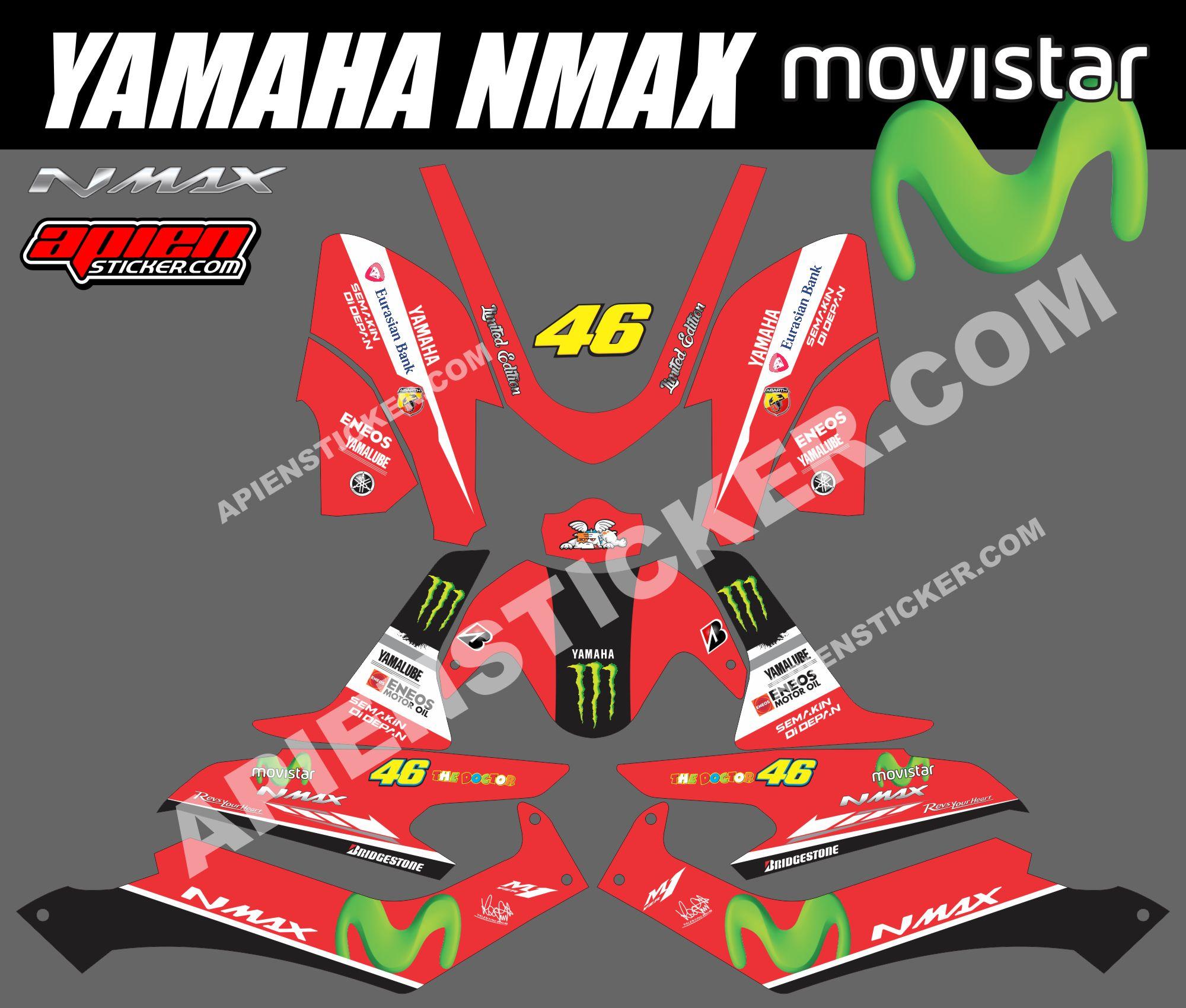 Striping Motor Yamaha NMAX Movistar Merah Apien Sticker - Mio decalsmodifikasi striping mio j striping stickers decals joehansb