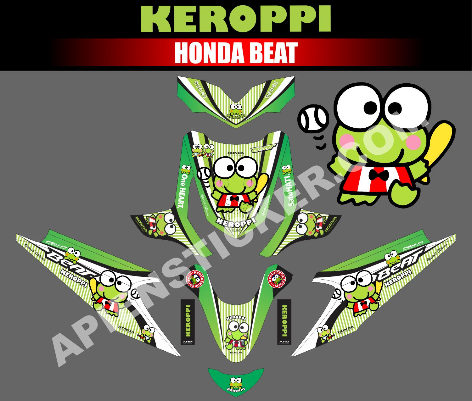 Striping motor beat keroppi hijau