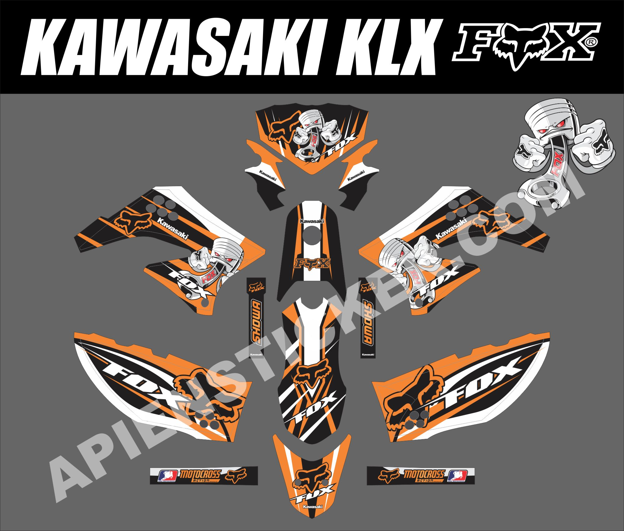 Striping Motor Kawasaki Klx D Tracker 150 Apien Sticker New Fox Piston