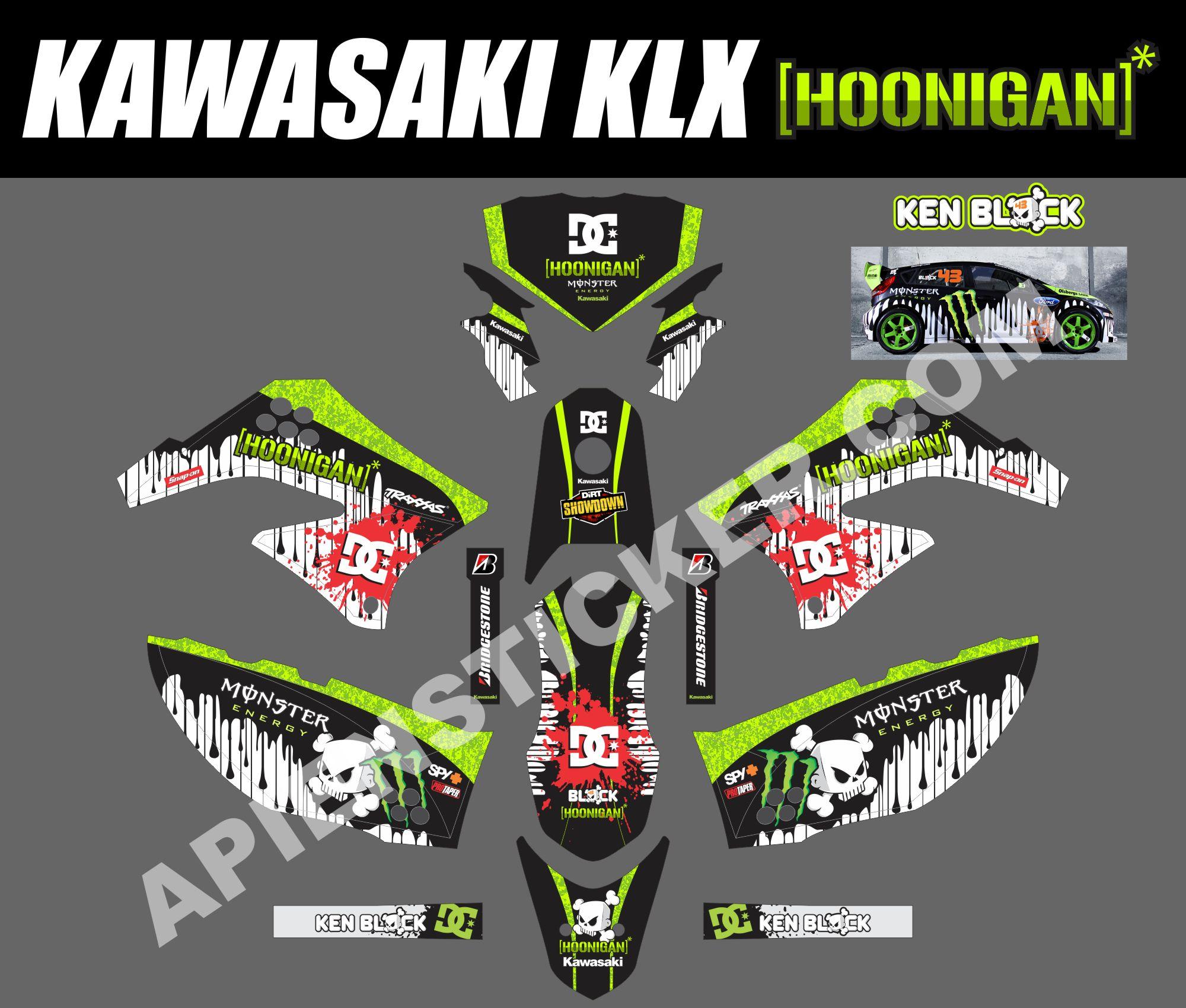 Striping Motor Kawasaki KLX D Tracker 150 Apien Sticker