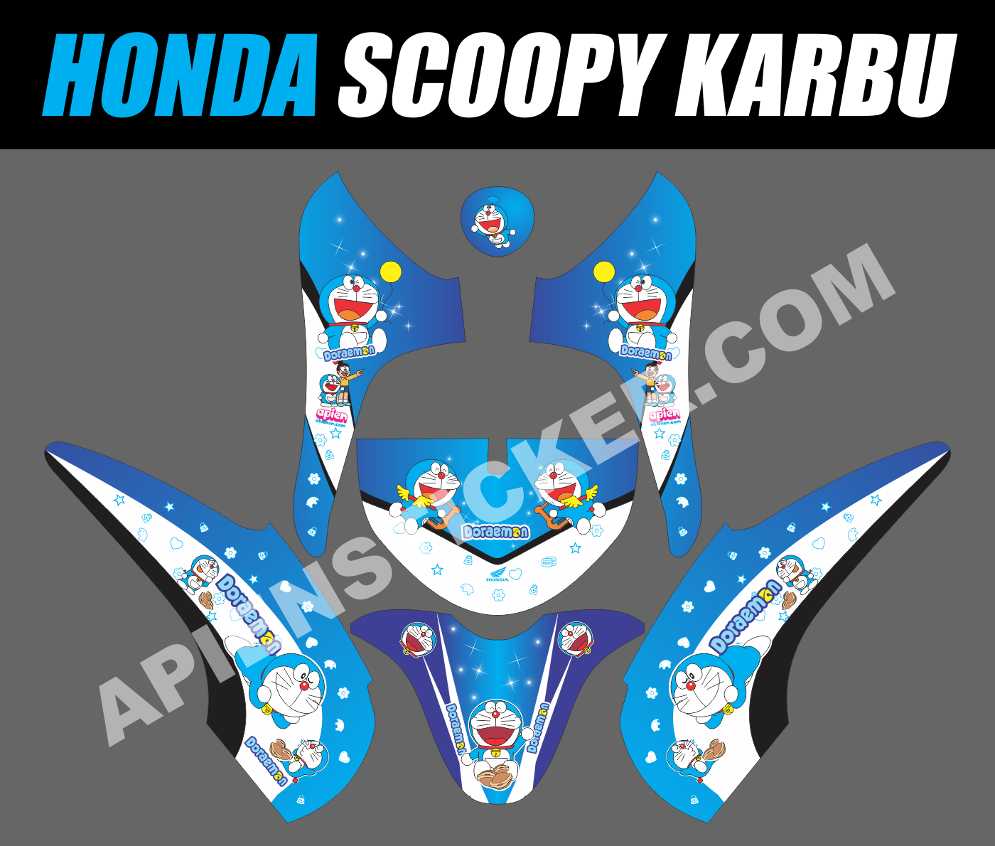 Striping motor honda scoopy doraemon apien sticker